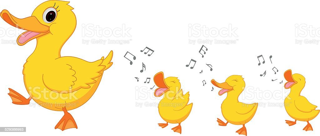 Happy Duck family cartoon vector art illustration