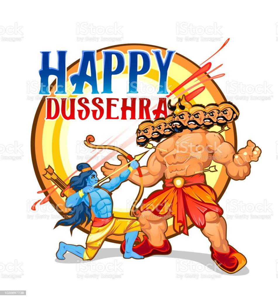 Happy dussehra greeting card design cartoon illustration for happy dussehra greeting card design cartoon illustration for dussehra holiday royalty free happy m4hsunfo