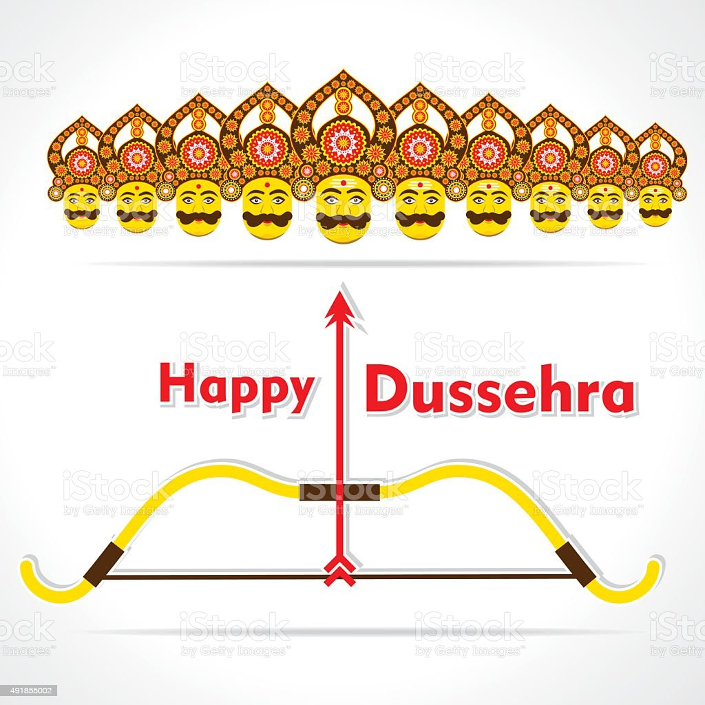 Happy Dussehra Greeting Card Design Stock Vector Art More Images