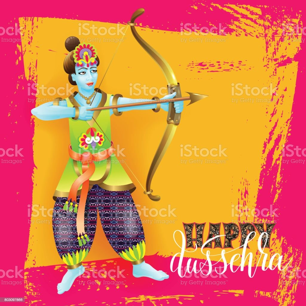 Happy Dussehra Greeting Card Design With The God Krishna Stock