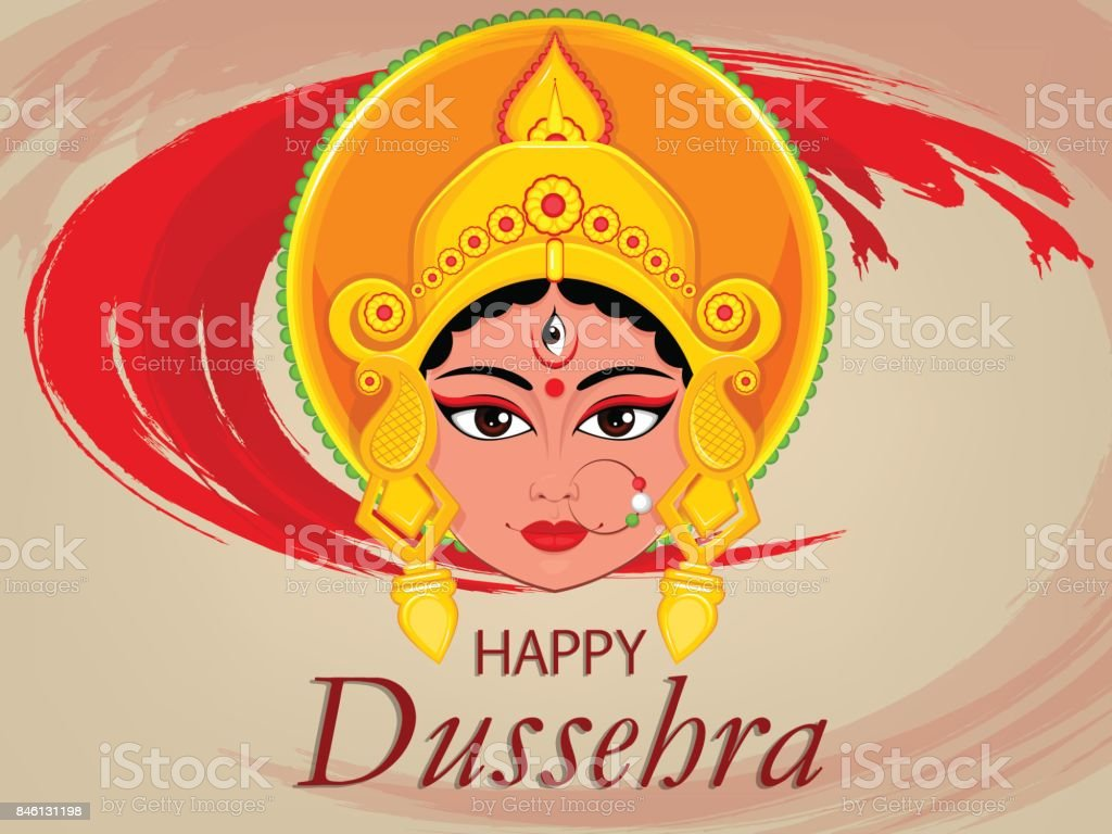 Happy dussehra greeting card maa durga face for hindu festival stock happy dussehra greeting card maa durga face for hindu festival royalty free stock vector m4hsunfo