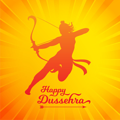 Happy Dussehra greeting poster vector