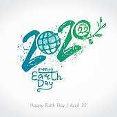 Happy Earth Day 2020. Green handwritten . April 22. Vector hand drawn template.