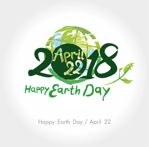 happy earth day. 22 april. 2018. - earth day stock illustrations