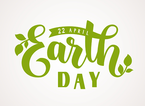 Happy Earth Day. 22 april. Hand lettering greeting text with green leaves silhouette