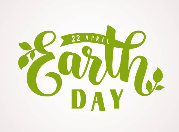 Happy Earth Day. 22 april. Hand lettering greeting text with green leaves silhouette Vector illustration earth day stock illustrations