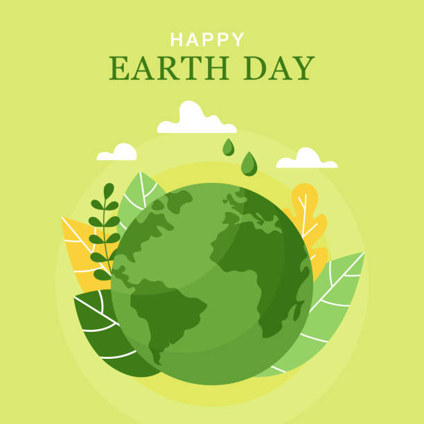 Happy Earth Day, 22 April. Vector World map vector illustration. Concept of the Earth day. Planet, leaves and clouds in flat style. Happy Earth Day, 22 April. Vector World map vector illustration. Concept of the Earth day. Planet, leaves and clouds in flat style. earth day stock illustrations