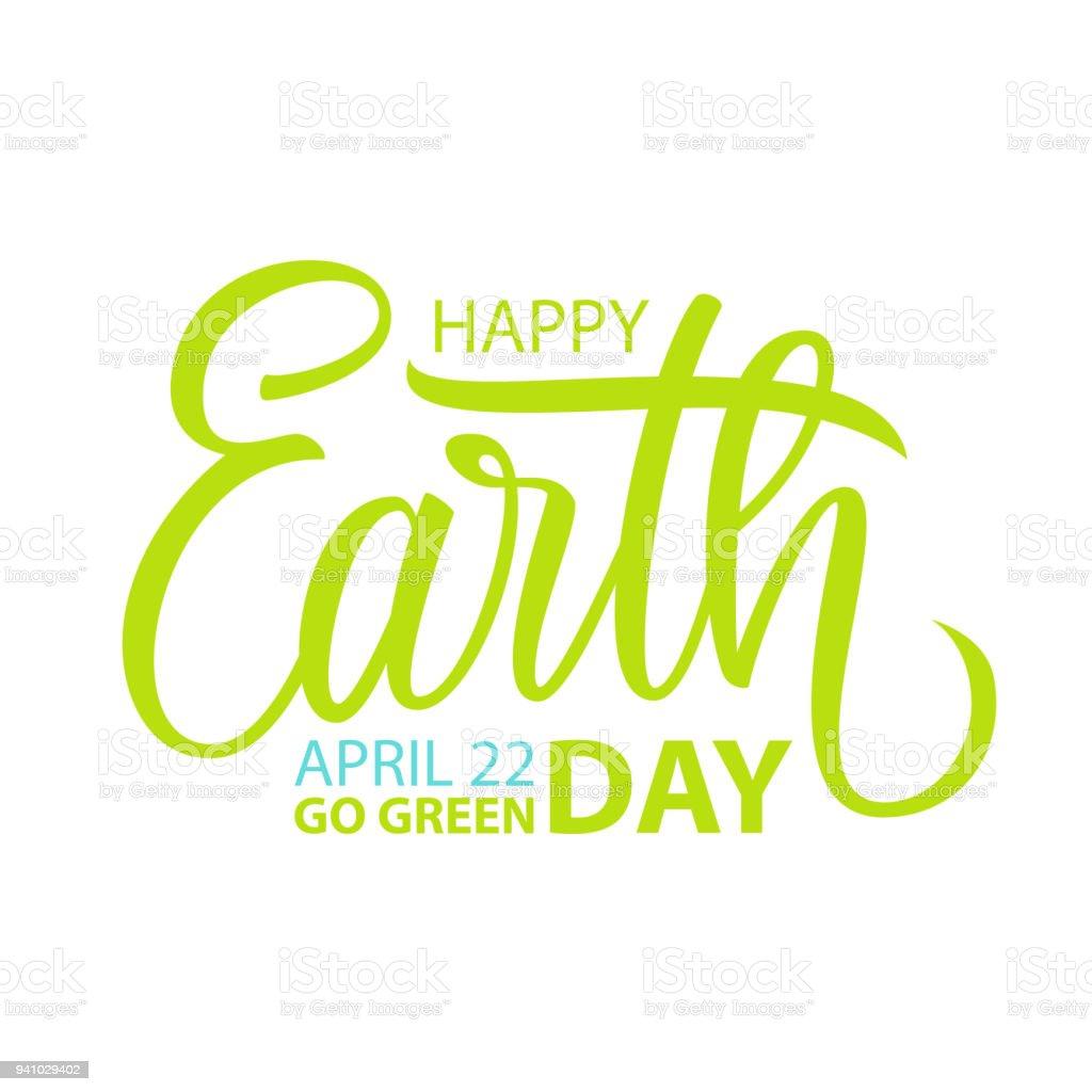 Feliz día de la tierra 22 de abril plantilla de tarjeta con letras para tarjetas de felicitación e invitaciones hechos a mano. - ilustración de arte vectorial