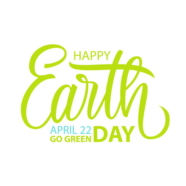 happy earth day, april 22 card template with hand drawn lettering for greeting cards and invitations. - earth day stock illustrations