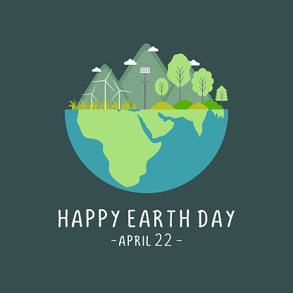 Happy earth day celebration design. Environment and ecology theme banner, poster, and background. World map background vector illustration. Globe with renewable energy power.