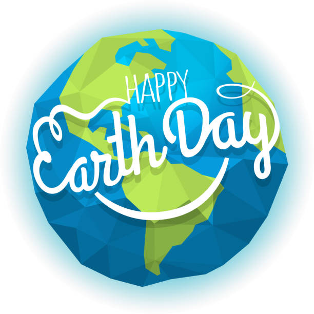 happy earth day concept. vector symbol with the smile. smiling earth illustration - earth day stock illustrations
