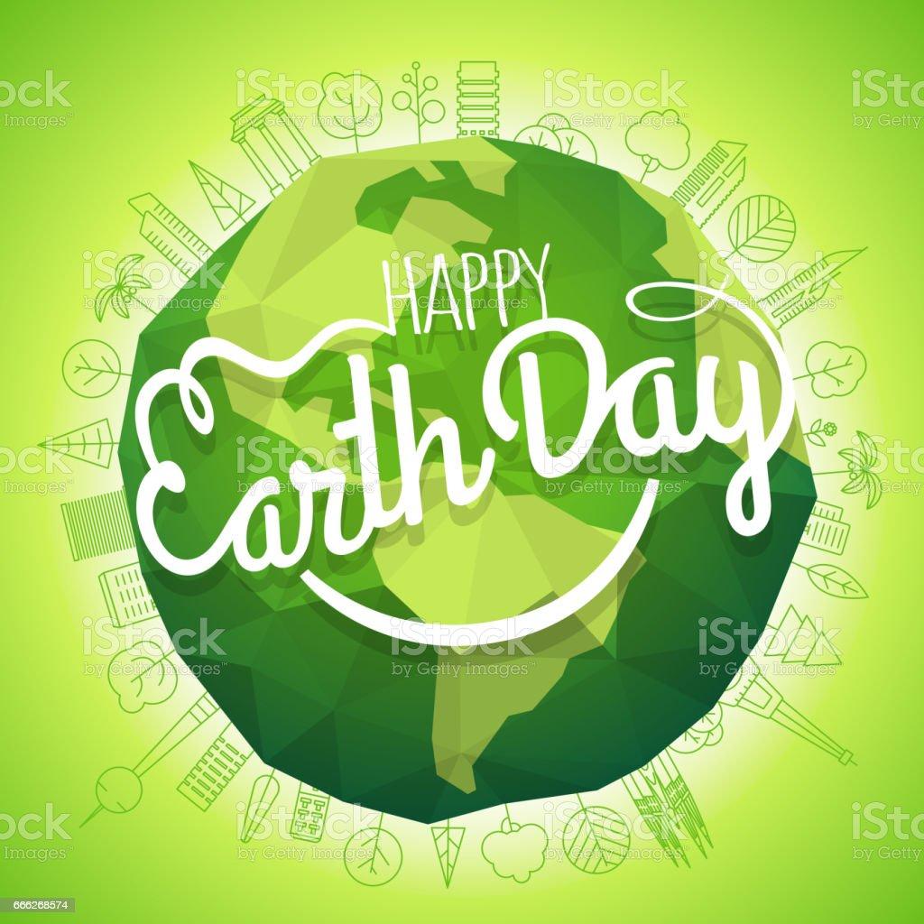 Concepto de día de la tierra feliz. Vector símbolo de la sonrisa. Ilustración de tierra sonriente - ilustración de arte vectorial