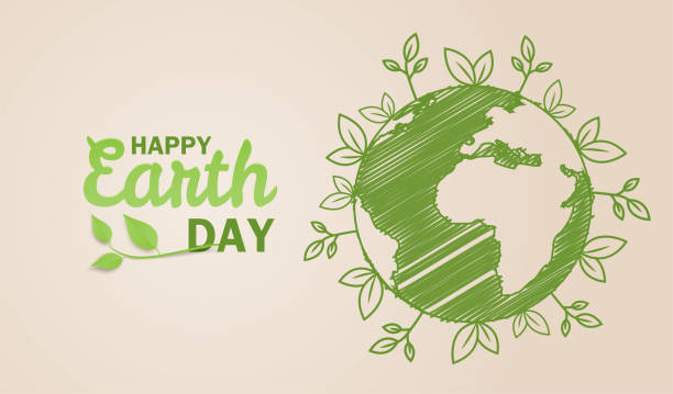 Happy earth day. Ecology concept. Design with globe map drawing and leaves on light brown background. vector. illustration. Happy earth day. Ecology concept. Design with globe map drawing and leaves on light brown background. vector. illustration. earth day stock illustrations