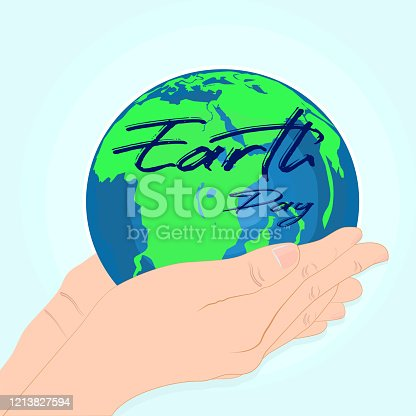 Happy Earth Day. Environmental safety. Conserve the earth. Two handsets, earth vector
