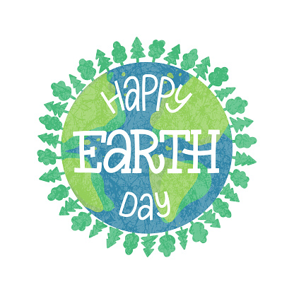 Happy earth day hand drawn lettering on green earth background with trees as a wreath.