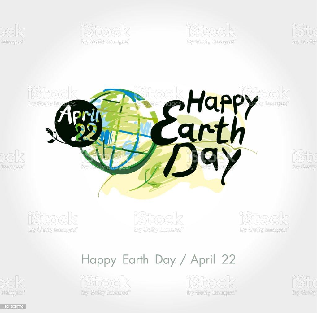 Feliz Día De La Tierra Mano Deletreado La Plantilla 22 De Abril ...