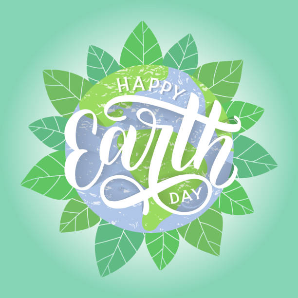 Happy Earth Day hand sketched lettering with globe and foliage on the background. Earth day vector concept illustration. Go green and save the planet. Vector EPS 10 earth day stock illustrations