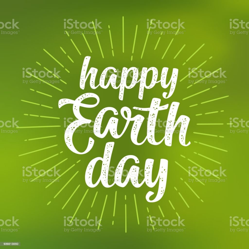 Happy Earth Day handwriting lettering. Vector green mesh gradient background vector art illustration