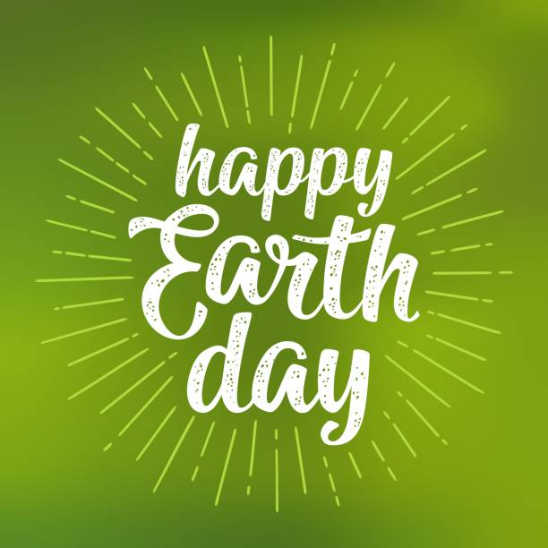 happy earth day handwriting lettering. vector green mesh gradient background - earth day stock illustrations