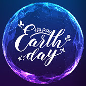 Happy Earth Day lettering on abstract vector mesh sphere. Digital globe with elegant calligraphy. Futuristic technology style. Typography poster on cyber background.