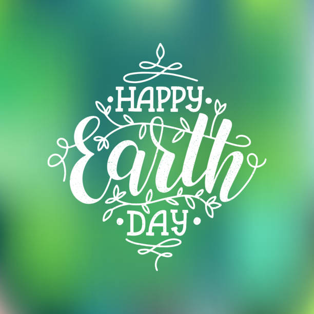 Happy earth day lettering poster on blurred background. Earth day logo for posters, banners, cards, postcards. Earth day concept with branches and leaves. EPS 10 earth day stock illustrations