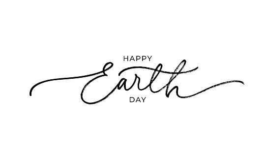 Happy Earth day line style calligraphy.