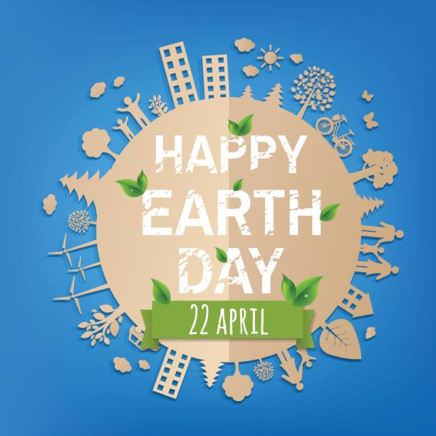 happy earth day postcard - earth day stock illustrations