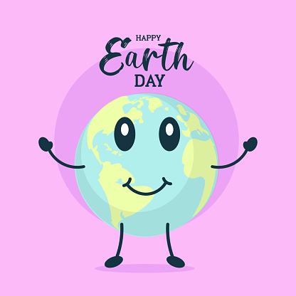 Happy Earth Day poster, smiling planet globe illustration banner vector