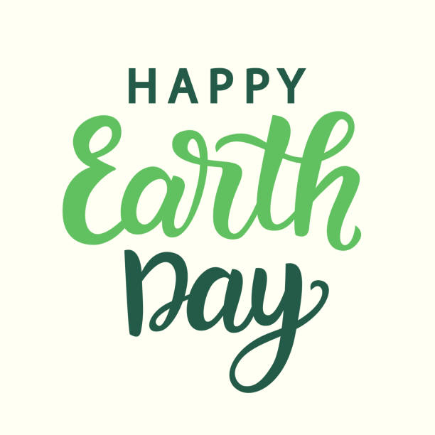 happy earth day poster with hand written modern calligraphy - earth day stock illustrations