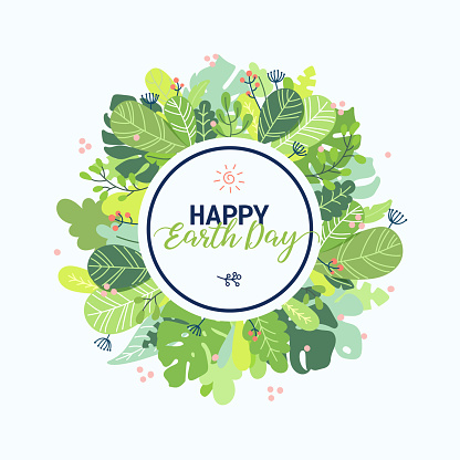 Happy Earth day round card design template. Springtime colorful flat style vector clip art illustration with lettering, floral wreath, plants, leaves isolated on white background.