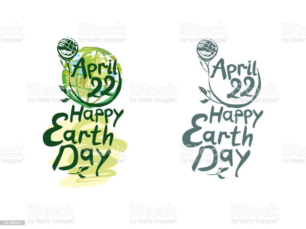 Día De La Tierra Feliz Dos Opciones De Plantilla De Letras Día De La ...