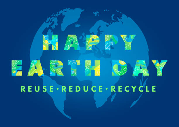 Happy Earth Day typography design Happy Earth Day typography design.Letters with fluid shapes,tiny leaves and Earth silhouette on a background.Earth Day concept perfect for prints, flyers,banners design and more.Reuse,reduce,recycle. earth day stock illustrations