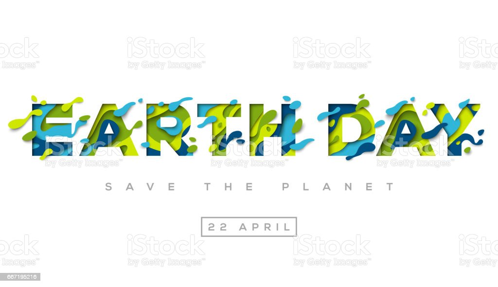 Heureux Earth day typographie design - Illustration vectorielle