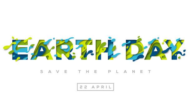happy earth day typography design - earth day stock illustrations, clip art, cartoons, & icons