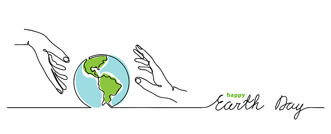 Happy earth day vector background. Simple planet and hands.