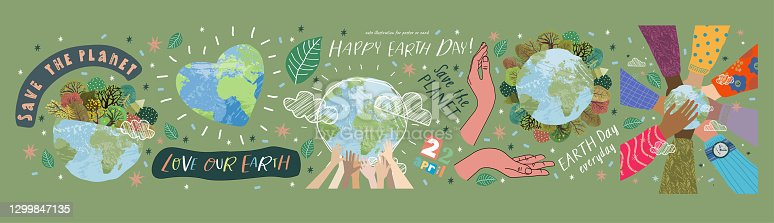 istock Happy Earth Day! Vector eco illustrations for social poster, banner or card on the theme of saving the planet, human hands protect our earth. Make an everyday earth day 1299847135