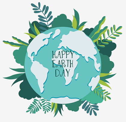 Happy Earth day vector illustration. Eco friendly ecology concept