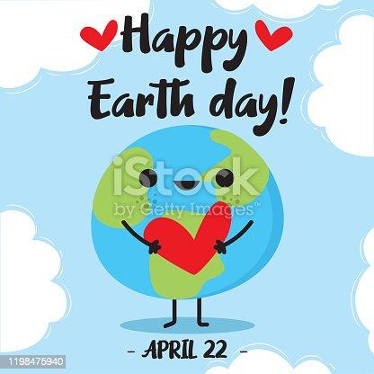 istock Happy Earth Day Vector illustration. 1198475940