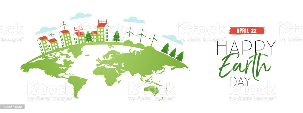 Happy earth day web banner of eco friendly city vector art illustration