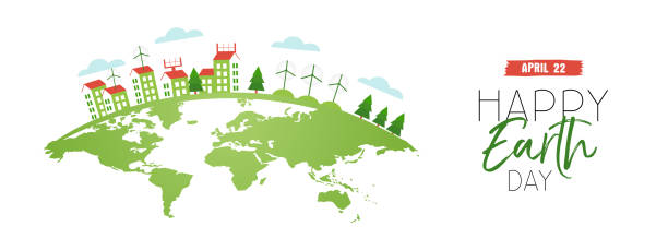 happy earth day web banner of eco friendly city - earth day stock illustrations, clip art, cartoons, & icons