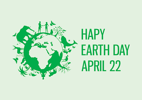 Happy Earth Day with animals and plants vector