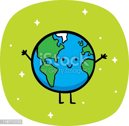 Vector illustration of a hand drawn happy, smiling Earth against a green background.
