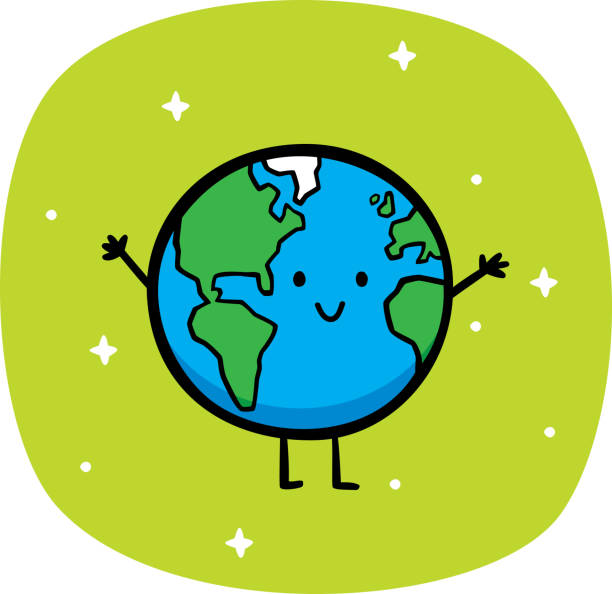 Happy Earth Doodle Vector illustration of a hand drawn happy, smiling Earth against a green background. earth day stock illustrations