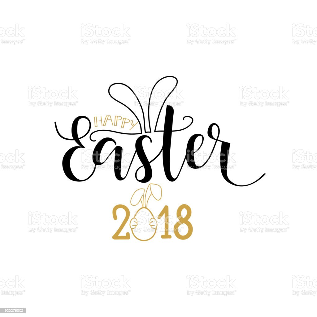 Happy easter lettering card hand drawn
