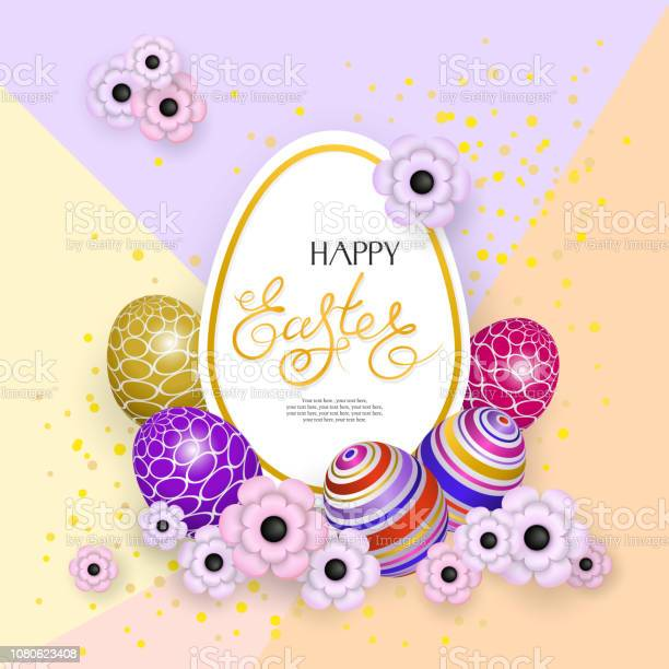 Happy Easter. Abstract background with 3d eggs and flowers on a polygon background. Frame with lettering. Can be used as a greeting cards, design element of website or advertisement. Vector EPS10