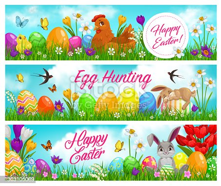 istock Happy easter and egg hunting vector banners 1303105069