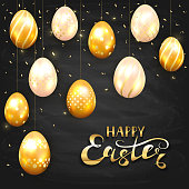 Golden Easter eggs with decorative patterns and confetti on black chalkboard background. Gold lettering Happy Easter, illustration.