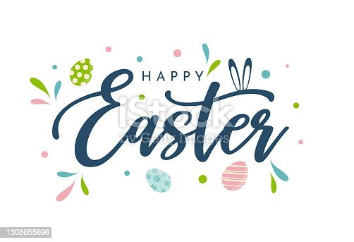 istock Happy Easter background, card, poster. Vector 1308655696