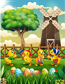 Happy Easter background farm with a bunch cute duckling