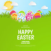 Happy easter background. Greeting Card. Paper cut style. Vector illustration